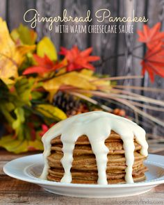 Gingerbread Pancakes with Warm Cheesecake Sauce Recipe for #Thanksgiving #ad #jelloholiday