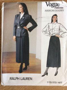Vintage Vogue Patterns American Designer Ralph Lauren 1477 #VoguePatterns
