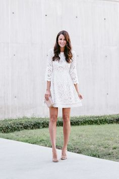 The Miller Affect wearing a white lace Eliza J Dress from Nordstrom