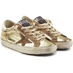 Golden Goose Deluxe Brand Super Star Metallic Leather Sneakers (€389) ❤ liked on Polyvore featuring shoes, sneakers, gold, golden goose sneakers, brown leather sneakers, metallic shoes, metallic gold sneakers and laced up shoes