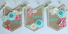 Pretty Banner great for spring/summer or any time you want to brighten up your space! Made with the Stampin' Up! Flower Patch stamp set and Flower Fair Framelits Dies on the Celebration Basics Banner Kit.