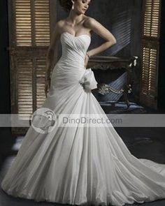 Vienna Korea Imported Taffeta Pleated Court Empire Bridal Gown Wedding Dress - DinoDirect.com