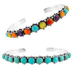 50% OFF SALE PRICE - $49 - 925 Sterling Silver Bracelet with Genuine Turquoise and Semiprecious Gemstones