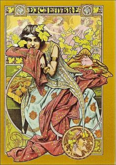 Besides his 'Four Seasons' the Catalan painter Gaspar Camps designed also allegorical pictures of the months of a year. They are Art Nouveau with a specific Spanish touch. Art And Illustration, Art Nouveau Poster, Art Nouveau Design, Jugendstil Design, Alphonse Mucha, Art For Art Sake, Vintage Artwork, Lettering, New Art
