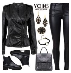 """""""Yoins - Polished Black Leather Look"""" by deborah-calton ❤ liked on Polyvore featuring yoins, yoinscollection and loveyoins"""