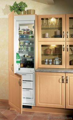 #Kitchen Idea of the Day: Modern Light Wood Kitchens. (By ALNO, AG). Excellent, light wood built in refrigerator glass doors