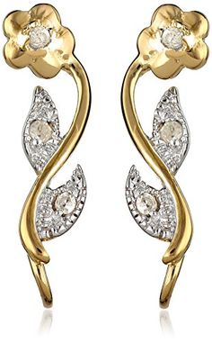 The Ear Pin Diamond Accent Flower Motif Gold Over Sterling Silver Earrings * Want additional info? Click on the affiliate link Amazon.com on image.