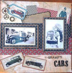 Graphic 45 A Proper Gentleman collection vintage scrapbook layout  Gramp's Cars