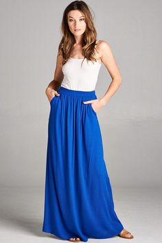 Helen Royal Blue Pleated Maxi Skirt