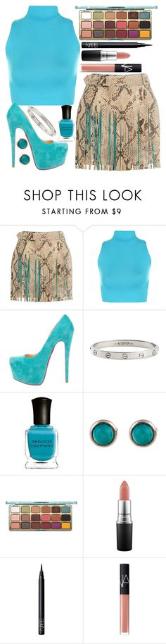"""""""Turquoise & Crocodile"""" by lindseylyonss ❤ liked on Polyvore featuring Roberto Cavalli, WearAll, Christian Louboutin, Cartier, Deborah Lippmann, Tiffany & Co., MAC Cosmetics and NARS Cosmetics"""