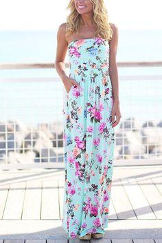 Off Shoulder Random Floral Print Maxi Length Dress