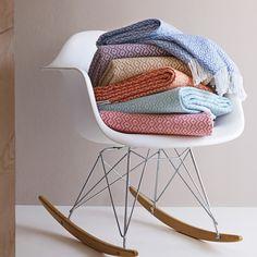 Throw Blanket | OPTION 3 - Monochromatic Modern | Cornflower Blue or Aqua | $89.00 ///// SFERRA Burke Brushed Cotton Throw