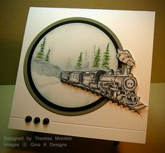 Theresa Momber : Crafting The Web: Train Card - (Pin Background: Sponging. Pin+: Transportation: NOT Cars. Masculine Birthday Cards, Birthday Cards For Men, Masculine Cards, Male Birthday, Boy Cards, Men's Cards, Fathers Day Cards, Winter Cards, Creative Cards