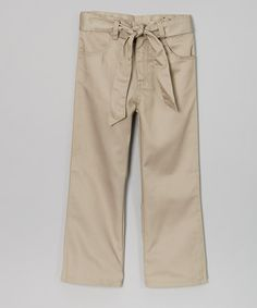 Love this Khaki Belted Pants - Girls by Beverly Hills Polo Club on #zulily! #zulilyfinds $14.99, regular 24.00