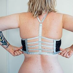 I do love me some creative strapping on bras and swimmers and have quite a few examples in my wardrobe. My most worn is probably this one piece by Disturbia. I lurrrrrve it. Sewing Bras, Swimmers, Ready To Wear, One Piece, Crop Tops, Create, How To Wear, Women, Fashion