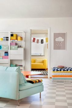 neutral space, colorful accents