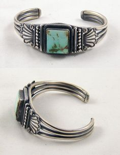 "Navajo artist Leon Martinez created this sterling silver and natural turquoise bracelet. The bracelet is 7/8"" at the widest point tapering to 5/16"" and features natural Pilot Mountain turquoise from Nevada"