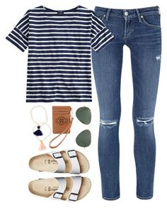 birk stripes by tabooty ❤ liked on Polyvore featuring Citizens of Humanity, Saint James, Birkenstock, Tory Burch and Ray-Ban