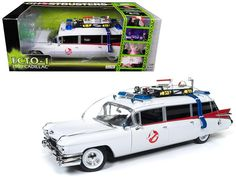 """1959 Cadillac Ambulance Ecto-1 From """"Ghostbusters 1"""" Movie 1/18 Diecast Model Car by Autoworld"""