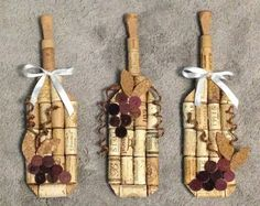 wine bottle wall hanging made from recycled corks on Etsy, $15.00