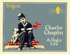 Free Shipping  Charlie Chaplin   A Dog's Life  Vintage by WallArty