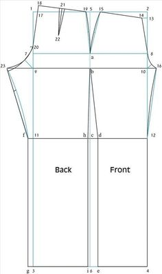 """Unlock the secret to clothing design. If you can draft and sew a basic bodice you can design virtually any kind of t-shirt, blouse or other top! Attach a skirt and you now have a dress! Take your measurements by using the guide in the """" How to Take Your Measurements"""" section and let´s get started! If you would rather just whip up an easier beginners t-shirt go to How to Design a Quick T-Shirt. BACK BODICE PATTERN: Draw a rectangle using the following measurements. Be sure to leave at least a…"""