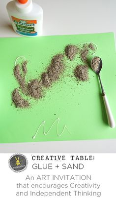 An easy Art Invitation with Glue and Sand that encourages creativity and independent thinking | TinkerLab