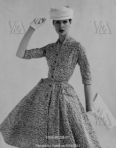 A full skirted dress with an abstract print, photo John French.