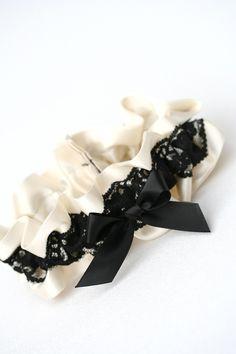 Beautiful custom ivory and black lace wedding garter-by The Garter Girl
