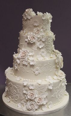 Lace And Flowers In Pearl Ivory Wedding Cake By Alliance Bak Wedding Cakes With Flowers, Elegant Wedding Cakes, Beautiful Wedding Cakes, Gorgeous Cakes, Elegant Cakes, Wedding Cake Decorations, Wedding Cake Designs, Wedding Cake Toppers, Vintage Cake Toppers
