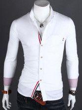 Popular White Cotton Stripe Men's Casual Shirt