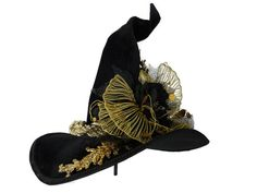"""Witch Hat, Witch Costume Hat, Witchy, Black Velvet Witches Hat, The Golden Queen - """"La REGINA D ORO"""""""