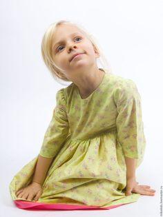 Платье нарядное Цветочная полянка - салатовый, нарядное платье, хлопковое платье, хлопковая ткань