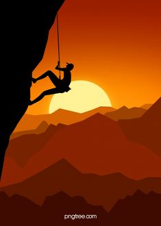 Orange Flat Sunset Outdoor Rock Climbing Sport Silhouette Background Rock Climbing Quotes, Rock Climbing Training, Rock Climbing Workout, Rock Climbing Holds, Rock Climbing Gear, Travel Illustration, Nature Illustration, Sunset Background, Background Images