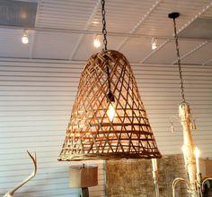 Custom basket lighting at Bay Hill Design Bay Hill, Basket Lighting, Chandelier, Ceiling Lights, Projects, Diy, Design, Home Decor, Log Projects