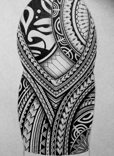 I created a Polynesian half sleeve tattoo design for my brother, displaying many of the typical patterns shown in Polynesian art. This is a very detailed freehand piece, completed only in black pen and pencil. Polynesian Art, Polynesian Tattoo Designs, Maori Tattoo Designs, Polynesian Tattoo Sleeve, Maori Tattoo Meanings, Panzer Tattoo, Tattoo Crane, African Tattoo, Half Sleeve Tattoos Designs