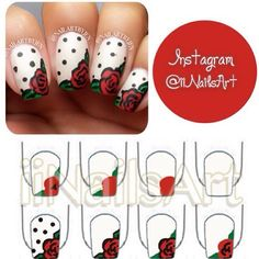 Rose and polka dot nails
