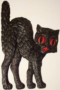 1930s German die cut black cat