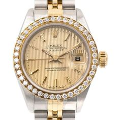 Preowned Rolex Ladies Yellow Gold Stainless Steel Datejust Diamond... ($6,500) ❤ liked on Polyvore featuring jewelry, watches, wrist watches, yellow, preowned watches, pre owned vintage watches, vintage wristwatches, vintage jewellery and holiday jewelry