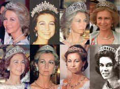 Las siete tiaras de la Reina de España: Tiara de las conchas, tiara las perlas de la Regente ( Cartier), tiara de la Flor de Lys, tiara floral de diamantes (Mellerio), Tiara Cartier de Victoria Eugenia, Tiara Prusiana, Tiara de Niarchos (Van Cleef).