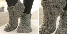 These Alaska knitted ankle socks have a lovely rib and cable pattern. They are a fun little knitting project that will not take long to make. Easy Knitting, Knitting Socks, Knitting Patterns Free, Knit Patterns, Crochet Socks, Knit Or Crochet, Knit Socks, Knitted Booties, Knitted Slippers