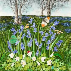 'Bluebells On The Malvern Hills' - this design is a celebration of spring when the woods are a scented haze of blue, with the white wood sorrel at the bottom. The orange tip butterflies dance around the bluebells whilst the bumble bees buzz Malvern Hills, Wood Sorrel, Spring Scene, Beautiful Nature Scenes, Fantasy Inspiration, Sign Printing, Countryside, Giclee Print, Fine Art Prints