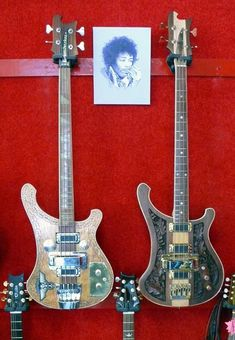 Lemmy's 2 main Rickenbackers (Number 1 on the right, Number 2 on the left).