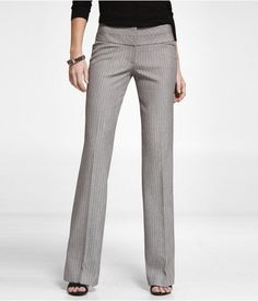 Express Womens Pinstripe Wide Waistband Editor Pant Gray, 4
