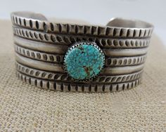 Rare No. 8 Mine Natural Turquoise Native American Bracelet Hand Worked Stamped