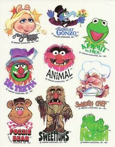 Vintage 1981 Hallmark Muppets Sticker Sheet by Jim Henson Productions. Miss Piggy, Jim Henson, Muppet Babys, Die Muppets, Fraggle Rock, The Muppet Show, Kermit The Frog, Custom Stickers, Childhood Memories