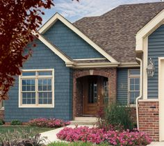 Painting Exterior Brick Fresh Exterior Excellent House with Painting Vinyl Siding with Vinyl Siding Colors, Exterior Paint Colors For House, Paint Colors For Home, Paint Colours, Blue Colors, Siding Colors For Houses, Navy House Exterior, Brown Brick Exterior, Vinyl Shake Siding