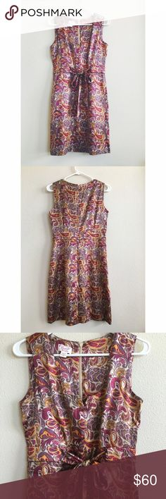 Original Penguin by Munsingwear Silk Paisley Dress Beautiful sleeveless paisley dress in 93% silk, 7% spandex. Fully lined. Rich tones of purple, beige, and gold. The waist ties for definition, and the square-ish neckline features a notch. New without tags. Original Penguin Dresses