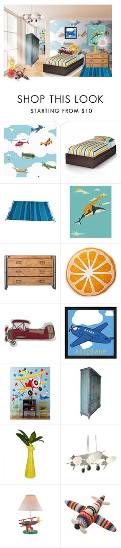 """it's a bird, it's dash's plane room"" by meadowbat ❤ liked on Polyvore featuring interior, interiors, interior design, home, home decor, interior decorating, South Shore, Monde Mosaic, Moe's Home Collection and Nordstrom Rack"