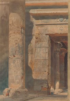 David Roberts 1864 An Entranceway at Karnak watercolor, brush and brown ink, over black chalk, on cream-colored paper 50.7 x 35.8 cm The Morgan Library and Museum, New York